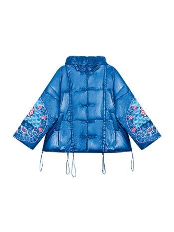 素萝原创 无量心 民族风宽松款冬季白鸭绒刺绣短款羽绒服女