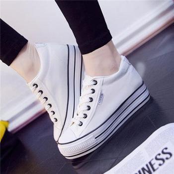 2016春季韩版帆布鞋女学生内增高低帮厚底布鞋白色松糕休闲板鞋子