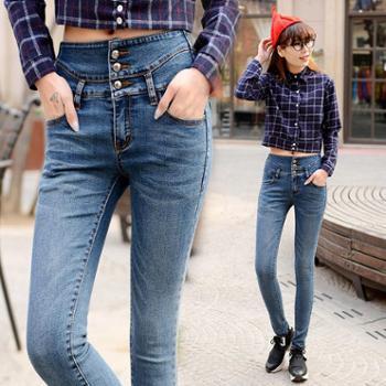 女装牛仔裤女显瘦秋季新款高腰长裤子时尚韩版黑色小脚裤女潮