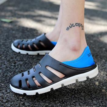 夏季韩版潮流男鞋子沙滩洞洞鞋男士防滑拖鞋懒人鞋透气两用凉鞋男