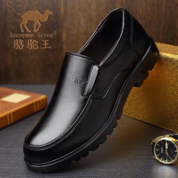 春秋季男士套脚爸爸子鞋真皮休闲男皮鞋圆头软底透气中年男鞋耐磨