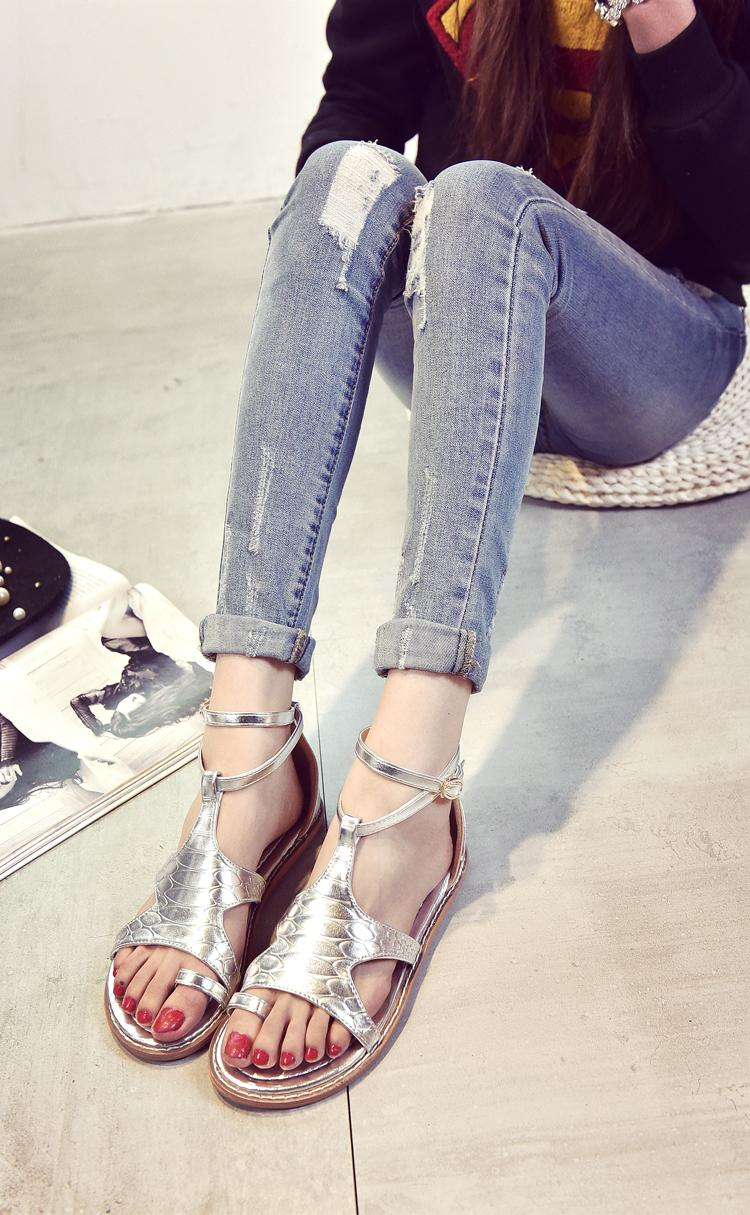 韩版平底凉鞋女夏2016新款休闲套趾罗马鞋潮夹趾防滑平跟学生凉鞋
