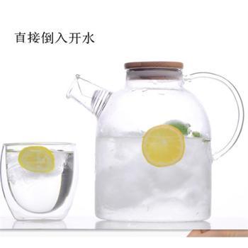 大容量加厚冷水壶透明带盖果汁杯耐热过滤玻璃凉水壶牛奶杯豆浆壶