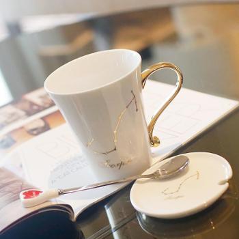 十二星座杯子带盖创意水杯时尚陶瓷马克杯情侣对杯情侣杯咖啡杯