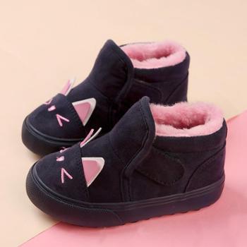 人本童鞋儿童棉鞋女童棉鞋新款冬季棉鞋宝宝棉鞋1-3岁毛毛鞋