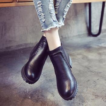 秋冬季学生黑色圆头高跟马丁靴英伦风裸靴女鞋厚底粗跟短筒短靴潮2