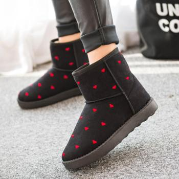 冬靴新款经典爱心花纹短筒雪地靴女加绒保暖棉鞋学院风平底靴女潮