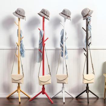 木马人 简易实木质落地衣帽架儿童时尚衣服架 客厅卧室挂衣架收纳