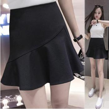 夏装新款高腰不规则防走光鱼尾短裙半身裙荷叶边一步裙包臀裙