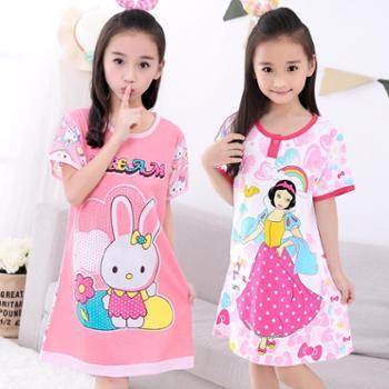 儿童睡裙夏季短袖全棉女孩家居服纯棉女童睡衣卡通可爱中大童睡衣