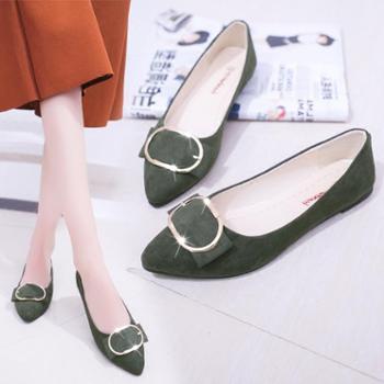 韩版春夏季新款尖头单鞋女豆豆鞋百搭女鞋平跟平底浅口舒适休闲鞋