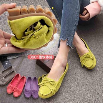 夏秋新款韩版单鞋平底百搭休闲鞋浅口牛筋底女鞋一脚蹬豆豆鞋
