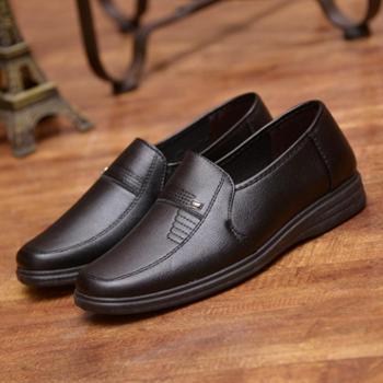 中老年男爸爸鞋中年男士透气休闲皮鞋套脚商务软底皮鞋单鞋