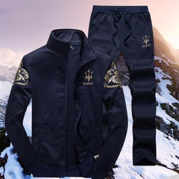 新款男士加绒卫衣套装外套休闲运动套装学生韩版男装MTR8871