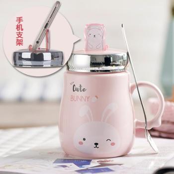 ins韩版女学生马克杯带盖勺可爱陶瓷杯办公室家用水杯子创意超萌