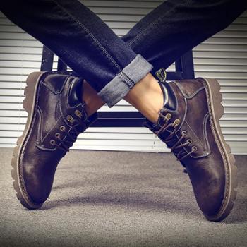 马丁靴男潮百搭男士高帮鞋韩版雪地皮靴短靴男靴中帮工装靴子男