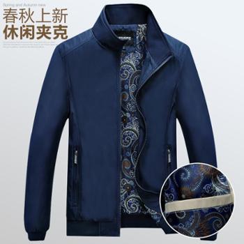 春秋外套男40岁男士休闲夹克50中年爸爸秋装薄款上衣服老年