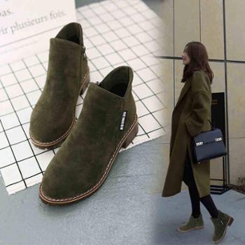 春秋季新款欧美女短靴马丁靴冬磨砂粗跟中跟休闲百搭学生女鞋