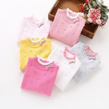 秋冬款儿童纯棉毛衣中大女童全棉打底衫半高领针织衫小女孩棉线衫
