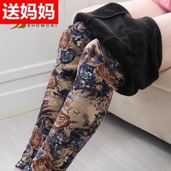 中老年人冬女装加绒加厚保暖女裤外穿加大码宽松妈妈打底裤秋裤女