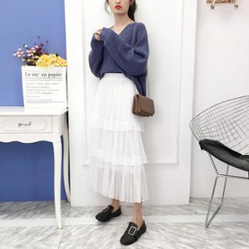 蛋糕裙半身裙春装女新款高腰中长款百褶裙a字仙女网纱裙长裙