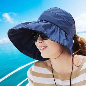 帽子女夏遮阳帽夏天女士潮防紫外线大沿太阳帽防晒可折叠凉帽
