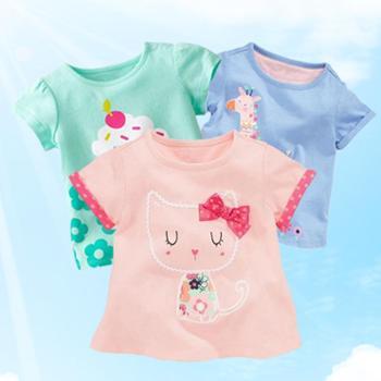 洛米兔夏装新款儿童短袖T恤女童宝宝半袖T恤纯棉婴儿短袖上衣童装