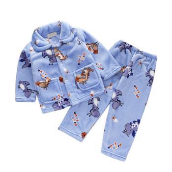 儿童睡衣秋冬法兰绒男女童长袖珊瑚绒套装小孩宝宝家居服