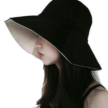 渔夫帽女夏天日系遮脸韩版百搭防晒遮阳帽时尚女士帽子A