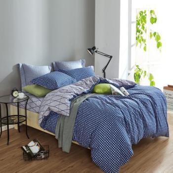 全棉斜纹清新简约双人床床上用品四件套