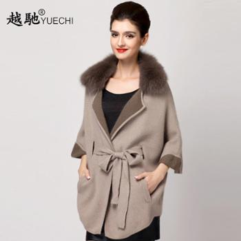 越弛秋冬女装中长款高端兔毛大衣女士狐狸毛领双面绒外套开衫毛衣
