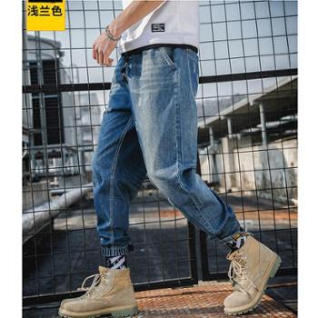 Aeroline夏季薄款浅色牛仔裤男宽松小脚工装裤男青少年牛仔裤