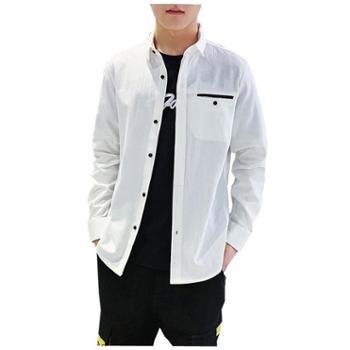 Aeroline纯棉男士休闲长袖衬衫韩版潮流帅气工装夹克翻领衬衣外套