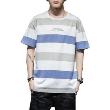Aeroline夏季男士宽松时尚条纹半袖T恤