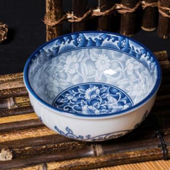 【企业网银专享】进口叁宝陶瓷碗 釉下彩 韩式碗 饭碗青花瓷汤碗 单个装
