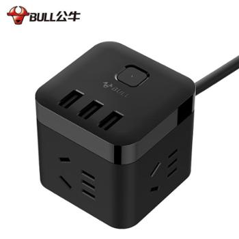 公牛魔方立式插排智能多功能孔带USB插座接拖插线板充电家用*