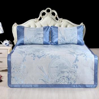 天琴家纺玉石冰丝席TQ-Q57山东著名家纺品牌凉席三件套床品三件套1.8米床舒适机洗包装精美礼品家纺礼品友人馈赠礼品定