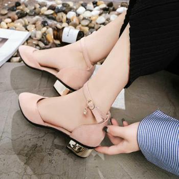 女凉鞋女拖鞋新款韩版包头中跟凉鞋女鞋学生罗马一字扣带粗跟百搭单鞋