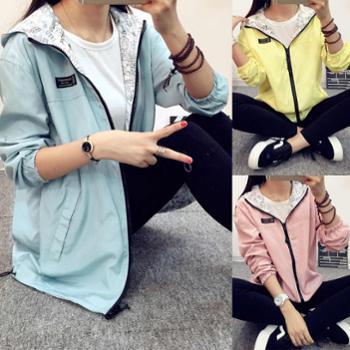 2017秋装新款女装韩版日系夹克休闲宽松薄款短款外套女两面穿风衣