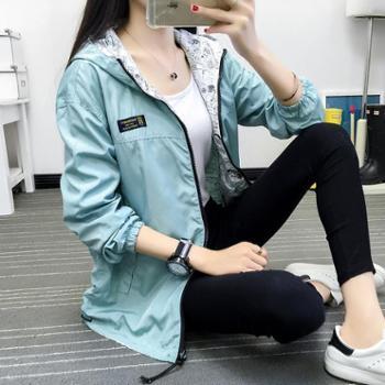 CllK 2017秋季学院风女风衣外套长袖韩版学生宽松两面穿薄款短外套