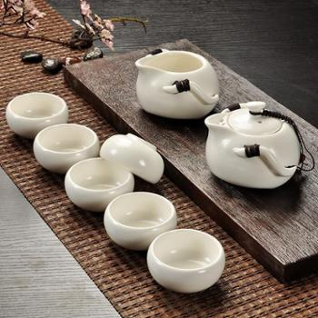 陶瓷茶具套装8头定窑茶具套装整套陶瓷创意礼品公司送礼