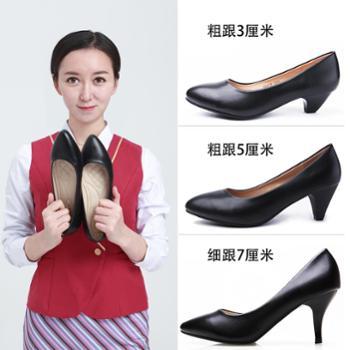 春秋单鞋工作鞋女黑色浅口职业鞋舒适防滑软底尖头高跟鞋大码女鞋