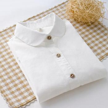 纯棉长袖白衬衫韩风女装百搭打底衫内搭衬衣花纽扣日系小清新