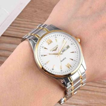 新款夜光防水冠琴男士手表时尚学生非机械表超薄钢带石英男表