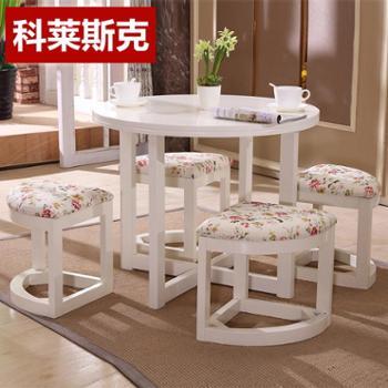 小户型餐桌椅组合白色田园美式乡村圆桌饭桌咖啡桌