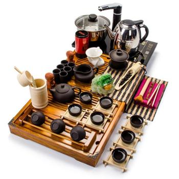 生活用品 聚森紫砂功夫茶具套装整套泡茶壶公道杯盖碗实木茶盘四合一电磁炉