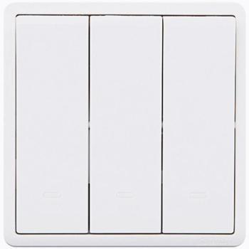 施耐德(Schneider)开关插座开关面板三开双控开关16A带荧光指示开关丰尚系列白色