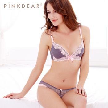 pinkdear 无钢圈文胸套装 无痕薄款性感蕾丝文胸 深V女士内衣套装