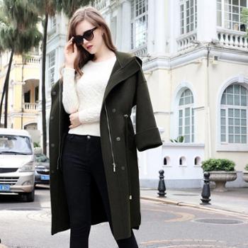 AVYON时尚连帽双面羊绒大衣宽松加长款纯色双面呢子大衣外套