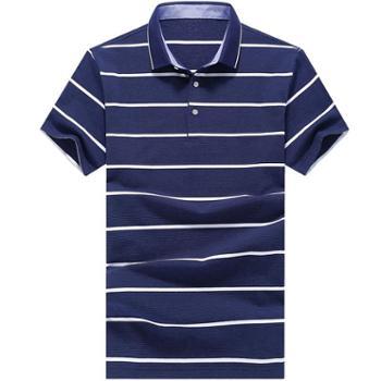 大江大河G-RIVER条纹间条全棉氨纶男式短袖T恤衫宽松直筒商务男装